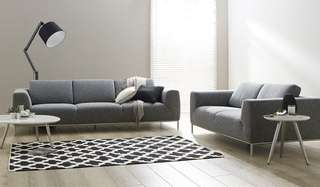 3 seater and 2 seater extra large seat grey fabric couch
