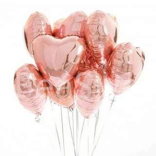 Balloons foil heart shape rose gold