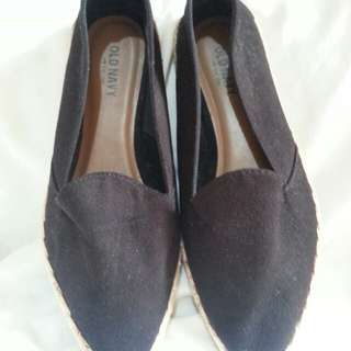 size 6, slim pointed rubbersole espadrille shoes