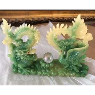 Brand New Exquisite Jade Dragon & Phoenix Pair