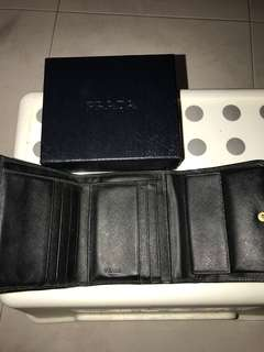 Prada saffiano tri fold wallet