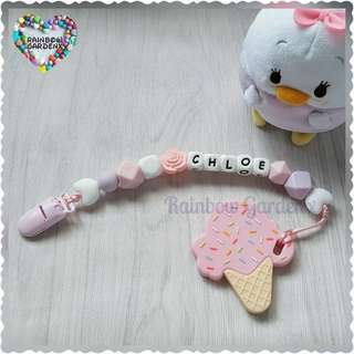 Handmade Customized Pacifier Clip with letter beads + Pink Ice cream Teether