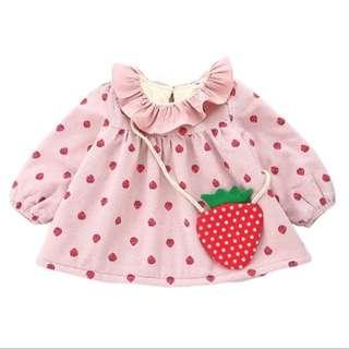 Baby Girl Winter Thick Velvet Dress Fruits