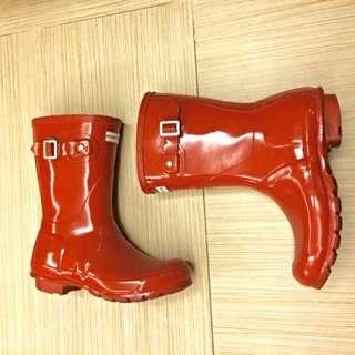 🚚 Hunter紅色短筒雨靴雨鞋UK5