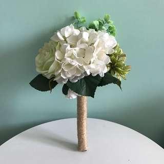 結婚婚禮後用品 姊妹花女 絲花花球 綠白田園風 繡球花牡丹花