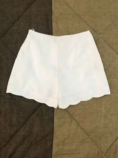 HighWaisted Scallop Detail Shorts