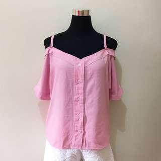 Off shoulder Strap Pink Top