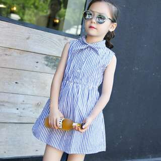 Korean Blue Stripe Tie Girl Dress