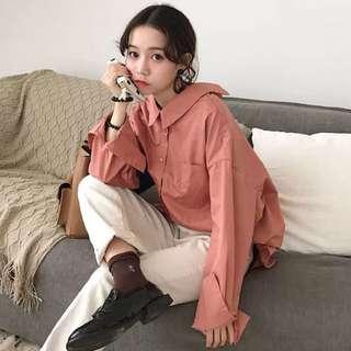 🚚 長袖襯衫性感後背綁帶(大尺碼)✅