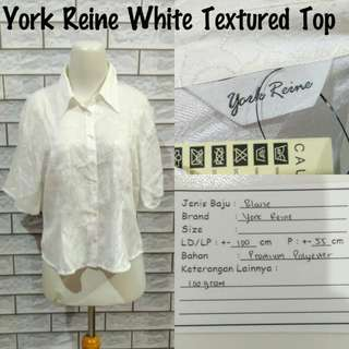 York Reine White Textured Top | Pakaian Wanita | Atasan Import