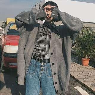 🚚 灰色針織外套毛衣(大尺碼)✅