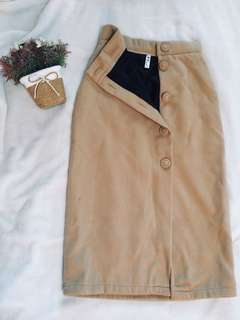 Beige Skirt (button midi skirt)