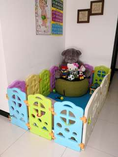Playpen/play yard for kids.. 12 small panels + 1 activity panel and 1 door..