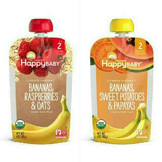 Happy Baby Organic Food Fruit Vegetable Puree Pouch Healthy Snack Raspberries Mangoes Carrots