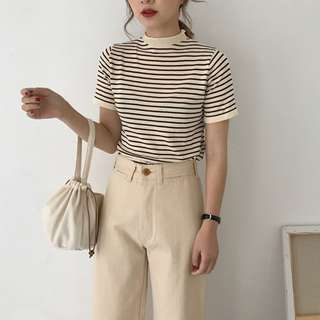 全新 女裝 R140713 條紋短袖T恤修身顯瘦套頭休閑上衣