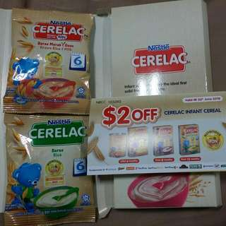 2 packs 25g Cerelac Plus $2 Off Voucher . Brown Rice And Milk . 2 Dollars Discount Coupon For Infant Cerelac Cereal