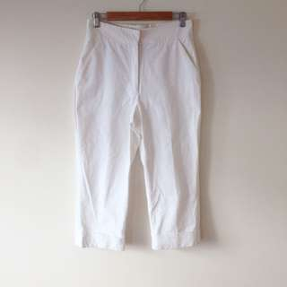 Calvin Klein White Cropped High Waisted Pants