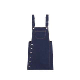 mixxmix | Denim Overalls Dress with Buttoned Sides