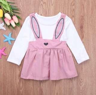 Faux 2-piece Rabbit Long-sleeve Dress
