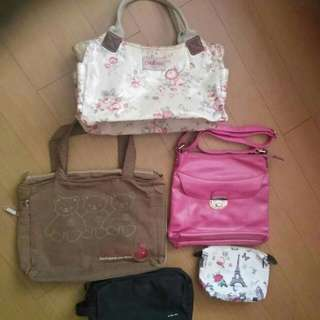 Take All Lot Of 5 Bags And Pouch 479 FIRST COME FIRST SERVE