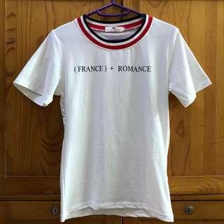 (France)+ Romance 白色圓領短袖衫T恤