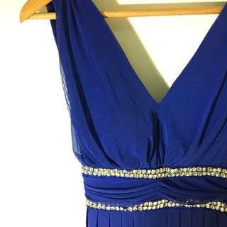 水鑽寶藍色優雅氣質洋裝禮服