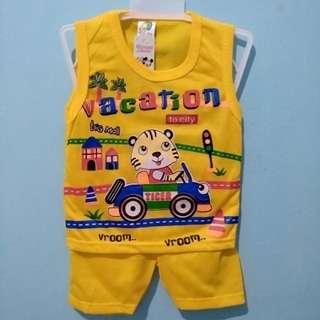 <new> setelan bayi vacation kuning set baju dan celana