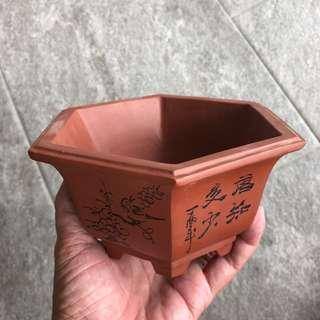 Hexagon zisha pot with carving