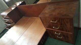 4層夾板木床頭櫃(2個)