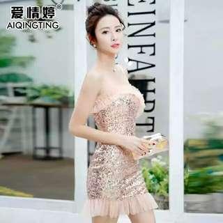 新款短款性感抹胸亮片小礼服时尚夜店女装韩版气质紧身包臀连衣裙