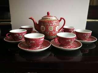 Tea Set 景德鎮 囍字紅洋蓮花茶具
