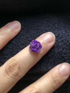 舊礦 皇家紫舒俱來 玫瑰花雕刻 0.8克