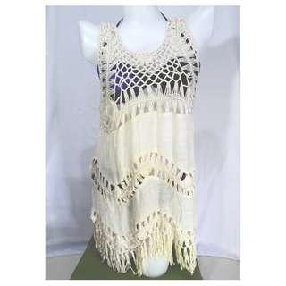 Tassel Sleeveless Poncho Cover Up Dress