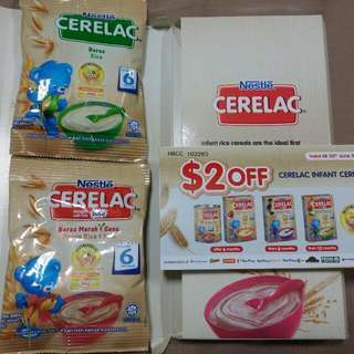 2x Cerelac 25g And $2 Off Voucher . 2 Dollars Discount Infant Cereal . Brown Rice And Milk