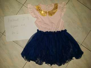 Pink navy blue chiffon dress