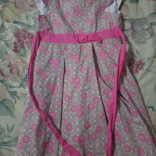 Pinck printed dress with ribbon