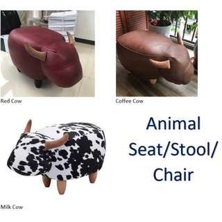 Animal Stool /Seat Chair - Cow Design - Milk - Red Cow - Coffee Cow