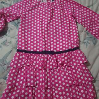 Gap pink polka dress long sleeves