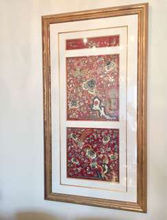 """55"""" Large Framed Auspices Embroidery 吉祥真金缐刺繡"""