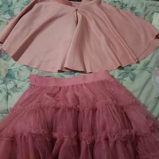 Bolero and tutu old rose dress set