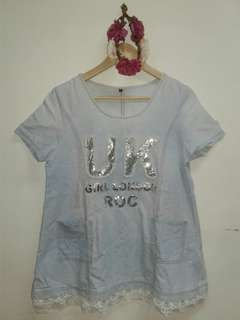 Korean denim like blouse - L to XL