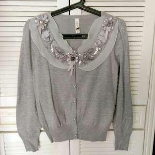 🚚 降降降🎊設計款甜美珠鑽飾亮片灰色針織上衣