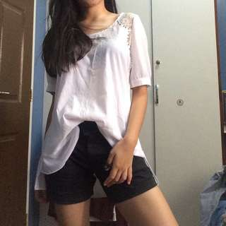 BUNDLE white top and black shorts