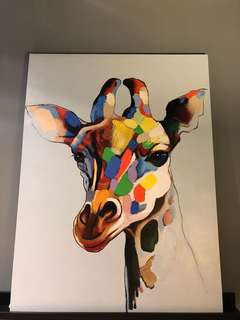 Canvas Painting - United Colors Giraffe (90 width x 120 Height x 3cm thickness)