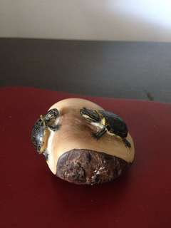 Animal carving on a nut w name of artist. Country of origin Panama