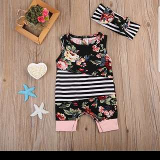 Floral romper jumpsuit with headscarf