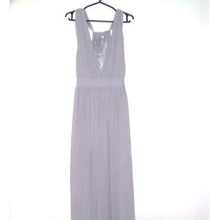 Charity Sale! Lavendar Grey Long Flowy Evening Gown Dress For Women Size Small