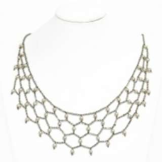 Fresh Water Pearl Roman lace Stainless Steel Necklace RM688