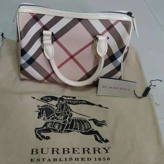 Authentic Burberry Nova Check Bowling Satchel Bag