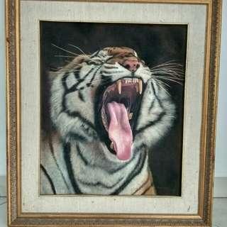 lukisan minyak yawning tiger
